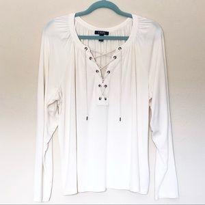 Chaps Denim Lace Up Blouse Long Sleeve